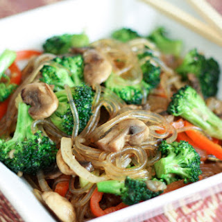 Korean Jap Chae {or Chop Chae} with Broccoli and Mushrooms.