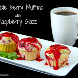 Double Berry Muffins with Raspberry Glaze