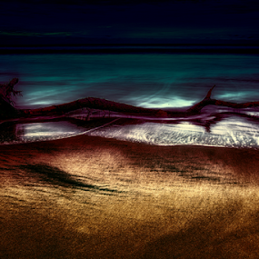 Sea at Midnight by Cristobal Garciaferro Rubio - Digital Art Places ( lights, waves, sea )