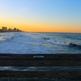 Fishing Pier View by J.c. Phelps - Landscapes Beaches ( sunset, ocean, beach, fishing, virginia beach )