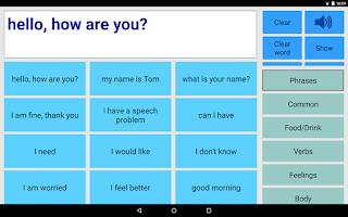 Screenshot of Speech Assistant AAC