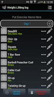 Screenshot of Bodybuilder Weight Lifting log