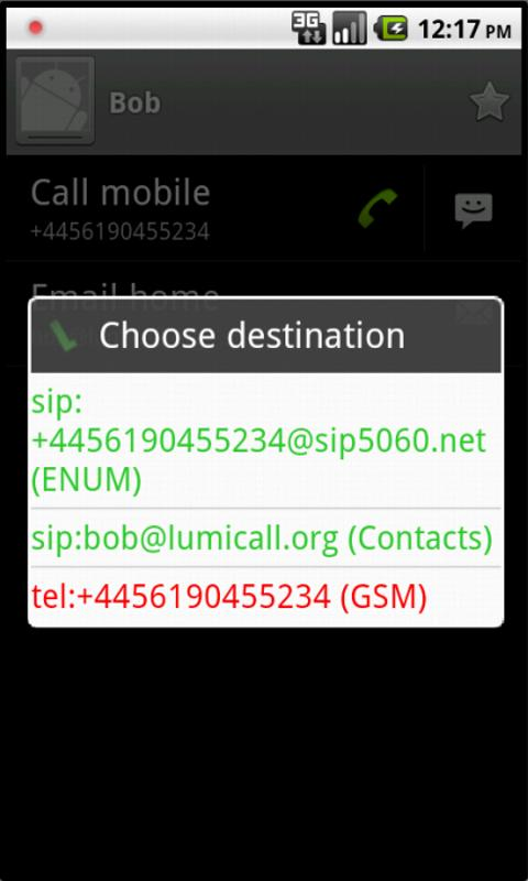 Lumicall- screenshot
