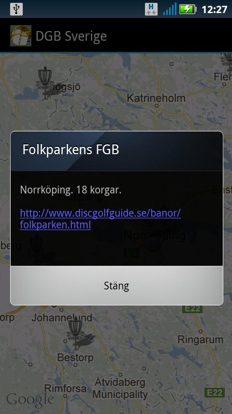 Discgolfbanor i Sverige - screenshot