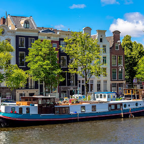 Amsterdam BoatHouse by Jamerson Rodrigues de Melo - City,  Street & Park  Street Scenes ( water, sky, houseboat, boathouse, amsterdam photographer, amsterdam, house, boat, netherlands, city, river,  )