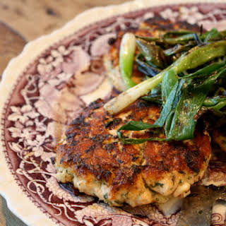 Asian Salmon Burgers with Grilled Scallions.
