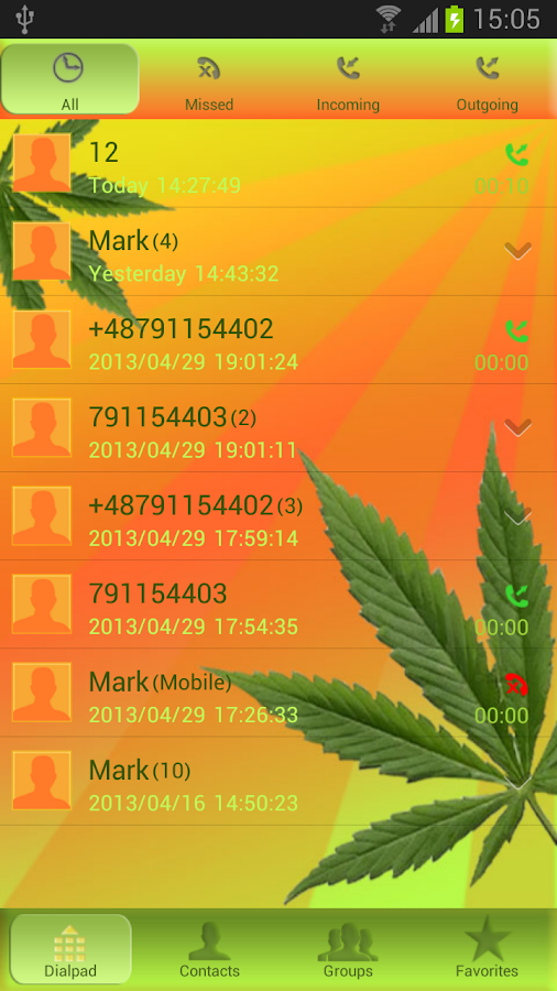 Weed Ganja - GO Contacts Theme- screenshot