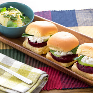 Beet, Goat Cheese & Apple Sliders with Fingerling Potato Salad