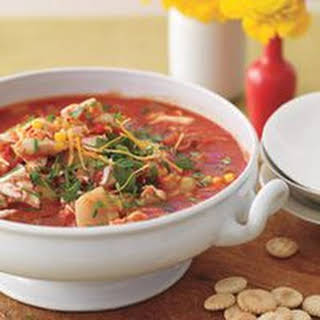 Sweet Red Chowder with Leek, Corn and Crab.
