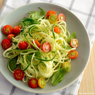 Zucchini Noodles with Cherry Tomatoes and Basil Recipe