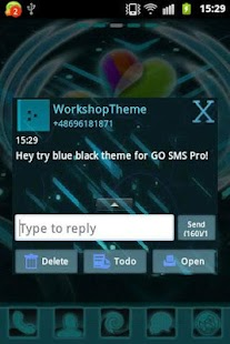 GO SMS Theme Black Blue - screenshot thumbnail