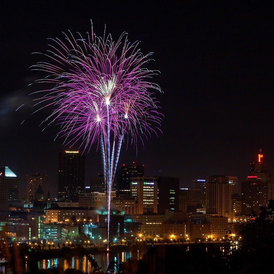 Purple Glory by John Stocker - Public Holidays July 4th ( skyline, minnesota, purple, violet, fireworks, night, july 4th, celebration, independence day, st. paul )