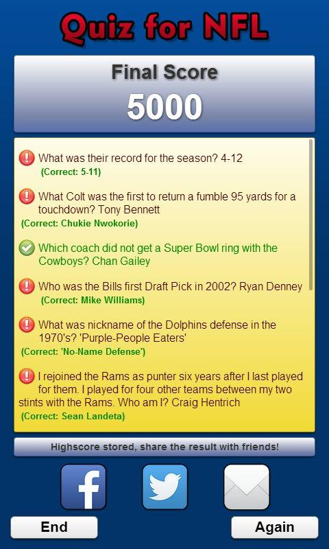 Quiz for NFL- screenshot