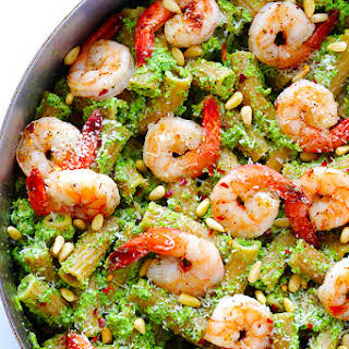 Shrimp Pasta with Broccoli Pesto.