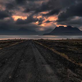 Forlorn Beauty by Daniel Herr - Landscapes Mountains & Hills ( clouds, westfjords, iceland, village, sunset, fall, silence, djupavik, gjögur )