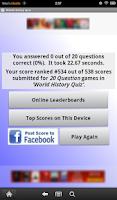 Screenshot of World History Quiz
