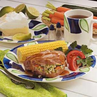 Pilaf-Stuffed Pork Chops.