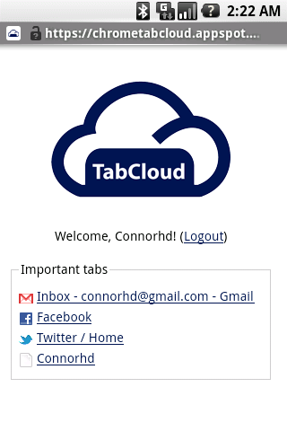 TabCloud- screenshot