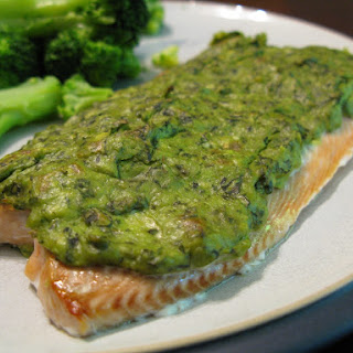 Basil-Avocado Baked Salmon.