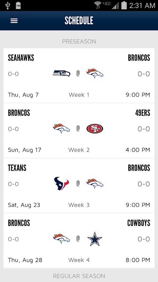 Denver Broncos 365 - screenshot