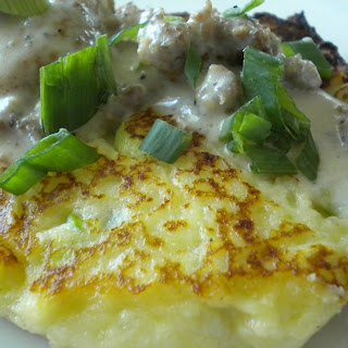 Scallion Potato Cakes with Sausage Gravy