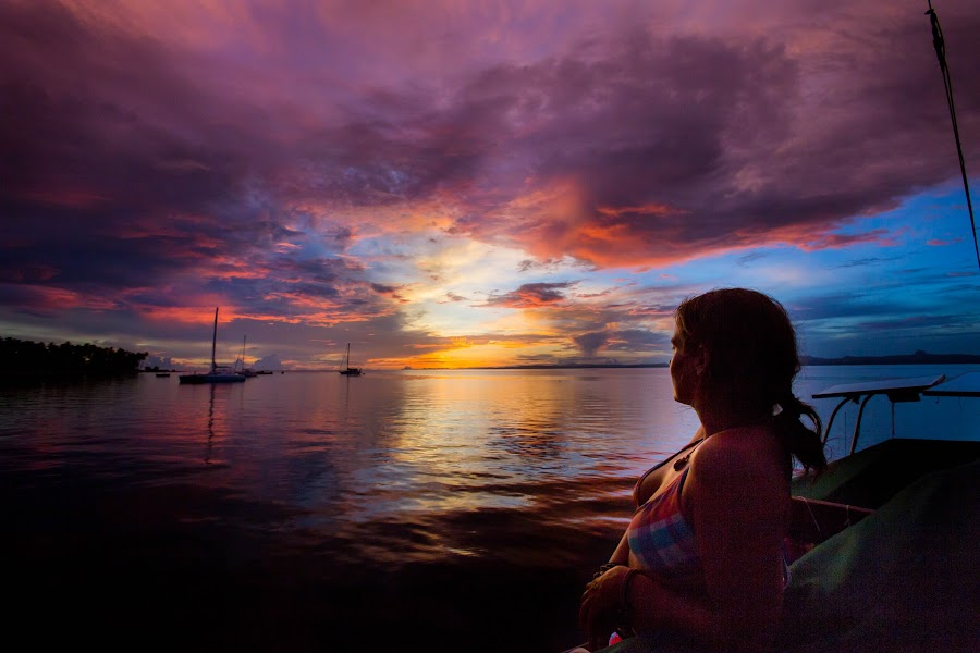 Watching the Sunset Over Cousteau by Jason Rose - Landscapes Sunsets & Sunrises ( cousteau, anchorage, sunset, resort, fiji )