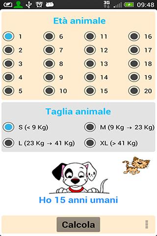 Calcola età cane e gatto