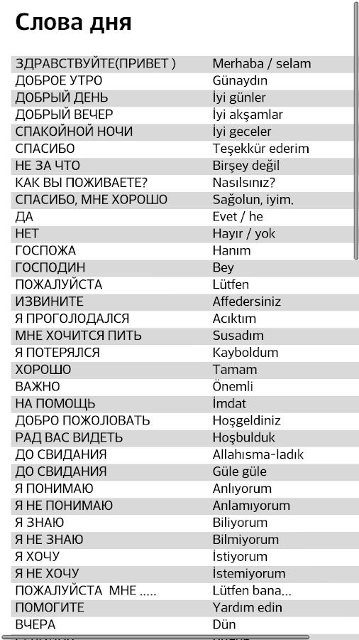 Словарь русско турецкого