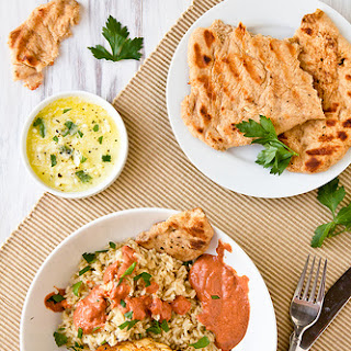 Grilled Indian-Spiced Chicken with Tomato-Yogurt Sauce.