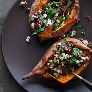 Baked Sweet Potatoes Stuffed with Feta, Olives and Sundried Tomatoes.