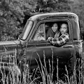 by Becky Kempf - Black & White Portraits & People ( black and white, truck, woman, couple, man,  )