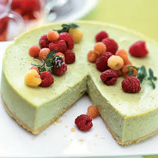 Green Tea Cheesecake with Raspberries and Raspberry-Mint Tisane.