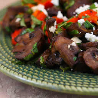 Greek Style Roasted Mushrooms with Red Pepper, Oregano, Mint, and Feta.