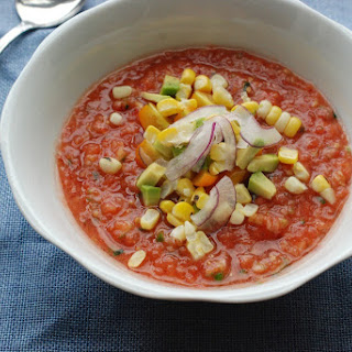 Gazpacho with Peaches and Jalapen?o.