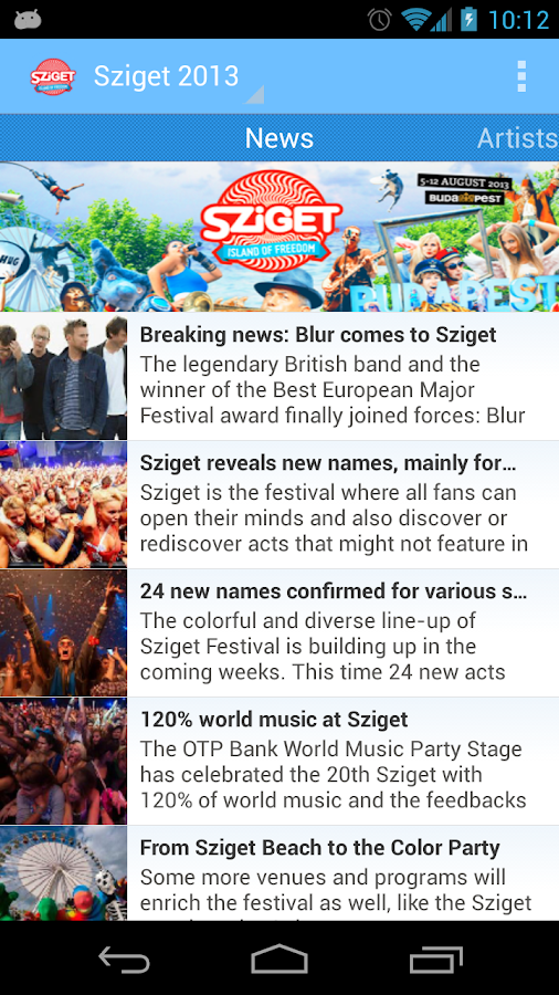 Sziget 2013 - screenshot