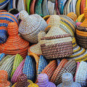 by Judith Dueck - Artistic Objects Other Objects ( dye, selling, spanish, african, straw, colorful, handicraft, travel, baskets, moroccan, weaving, asian, sell, asia, light )