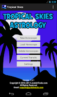 Screenshot of Tropical Skies Astrology