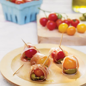 Cherry Tomatoes Wrapped in Prosciutto with Olives