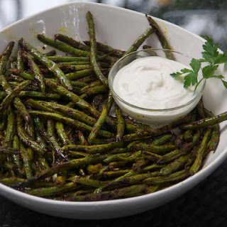 Indonesian Grilled Green Beans with lemon aioli dipping sauce.