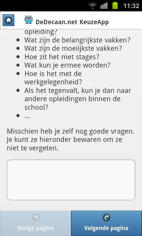 DeDecaan.net KeuzeApp - screenshot