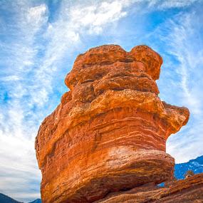 Balanced Rock by Derrick Leiting - Landscapes Caves & Formations ( orange, warm, d5200, colorado, stone, rock, boulder, landscape, mountains, inspiration, sky, winter, blue, nikon, 55-200, formation )