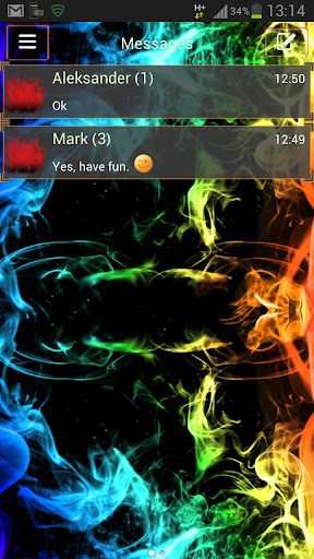 GO SMS Theme Rainbow Smoke Buy