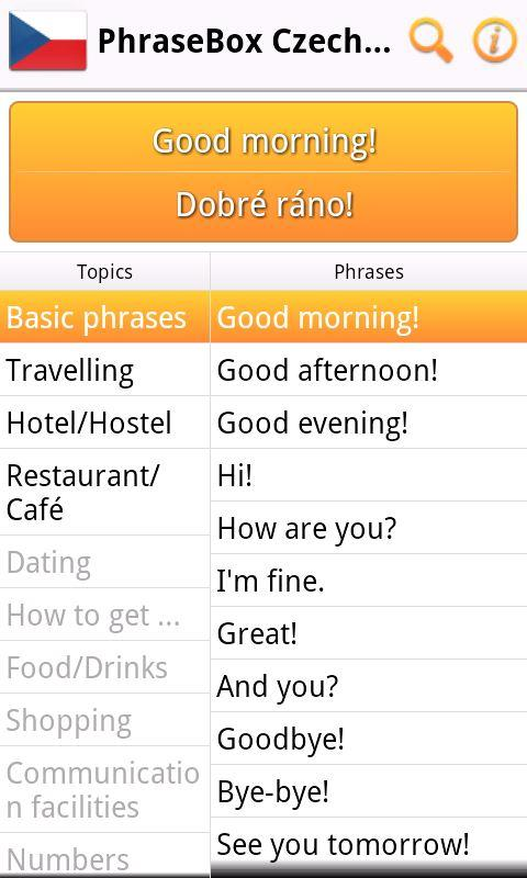 Phrasebook Czech Lite- screenshot