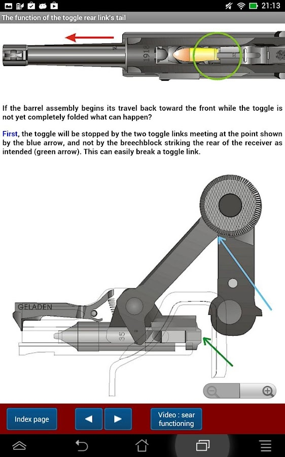Luger mechanical features- screenshot