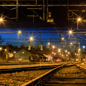 Coming home by Einar Bjaanes - Transportation Railway Tracks ( home, waiting, train, night, sarpsborg )