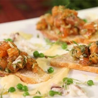 Salmon Tartar With Crushed Peas And Crab.