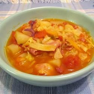Irish Bacon And Cabbage Soup.