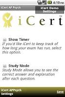 Screenshot of iCert AP Psych Practice Exam