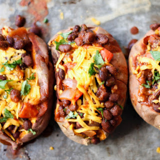 Vegetarian Black Bean Chili-Stuffed Sweet Potatoes
