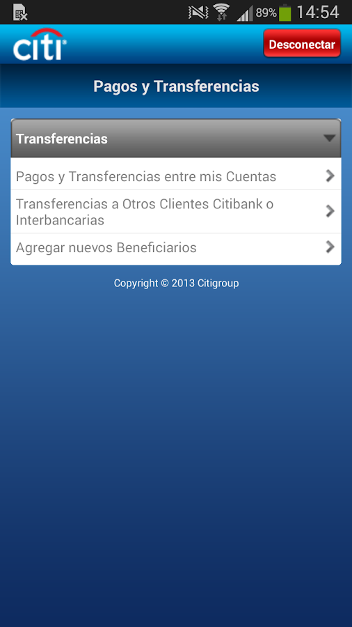 Citi Mobile PE- screenshot